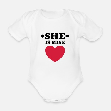 Girlfriend I love you my girlfriend boyfriend - Organic Short-Sleeved Baby Bodysuit