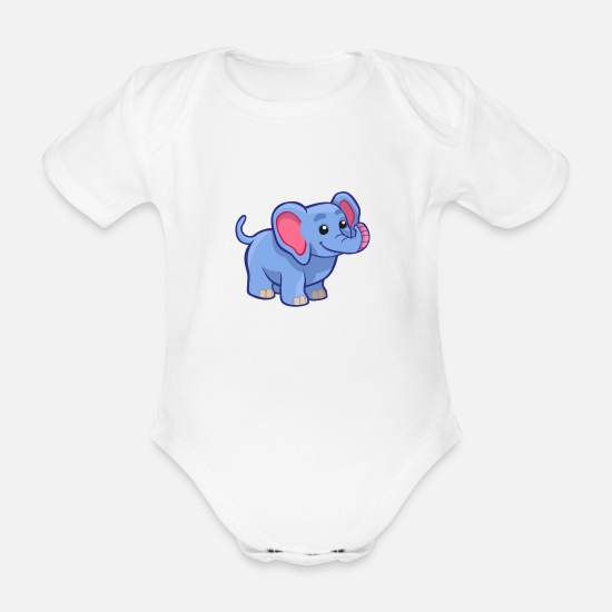 Baby Shower Baby Clothes - Sweet Elephant - T-Shirt Design - Organic Short-Sleeved Baby Bodysuit white