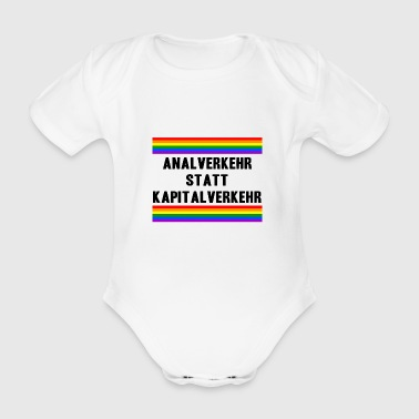Anal intercourse instead of capital LGBT Gay Pride - Organic Short-sleeved Baby Bodysuit