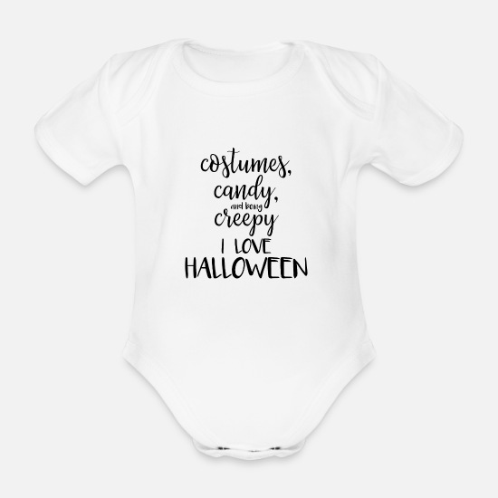 Zombie Apocalypse Baby Clothes - I love Halloween - Organic Short-Sleeved Baby Bodysuit white