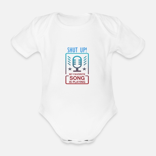 Music Baby Clothes - music - Organic Short-Sleeved Baby Bodysuit white