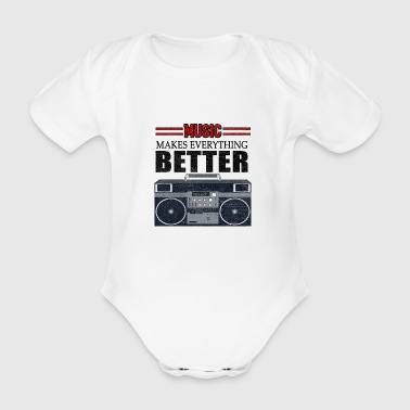 Music Boombox Musical Instrument Hip Hop Rap Gift - Organic Short-sleeved Baby Bodysuit