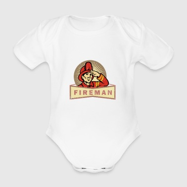 Firefighters man THW police save gift idea - Organic Short-sleeved Baby Bodysuit