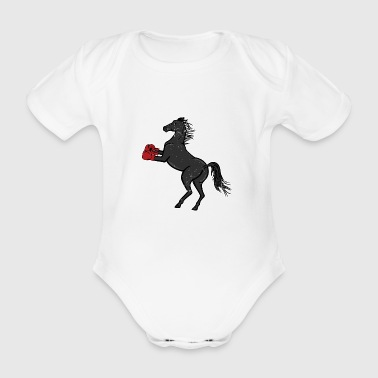 Boxing Horse Boxing Gift Boxing Gloves - Organic Short-sleeved Baby Bodysuit