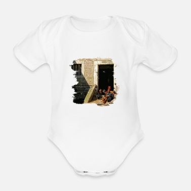 Cock Crowing When the cock crows on the crap - Organic Short-Sleeved Baby Bodysuit