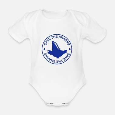 Save save_the_sharks_f1 - Organic Short-Sleeved Baby Bodysuit