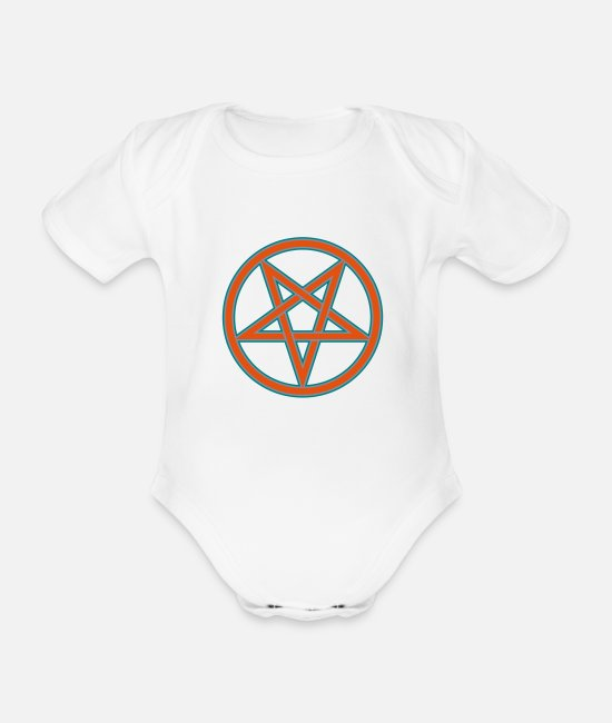 Symbol  Baby Clothes - Inverted Pentacle Symbol (Vector) - Organic Short-Sleeved Baby Bodysuit white