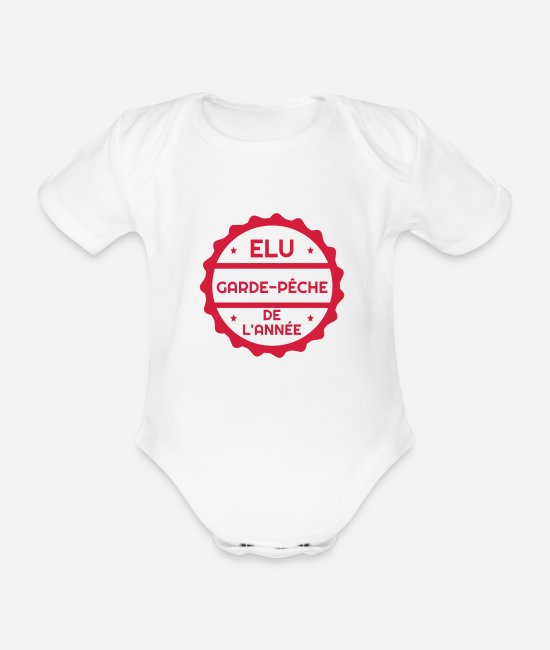 Gun Baby Clothes - Fishery Guardian Fishing Fischerei Pêche Fisch - Organic Short-Sleeved Baby Bodysuit white