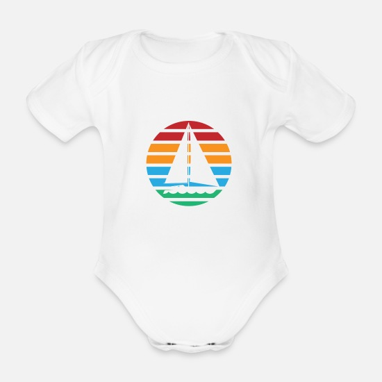 Sail Boat Baby Clothes - Sailboat boat sailing vintage retro gift - Organic Short-Sleeved Baby Bodysuit white