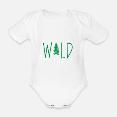 Forest Wild Adventure Mountains Vacation Gift - Organic Short-Sleeved Baby Bodysuit