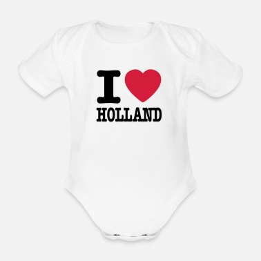 Holland i love holland NL - Baby bio-rompertje met korte mouwen