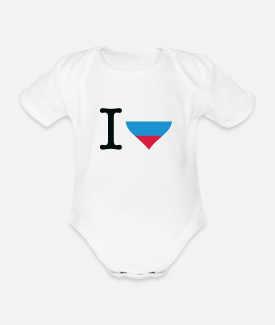 Heart Baby Clothes - I Love Russia - Organic Short-Sleeved Baby Bodysuit white