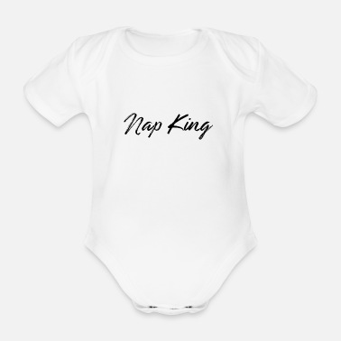 Snooze Nap King gift idea - Organic Short-sleeved Baby Bodysuit