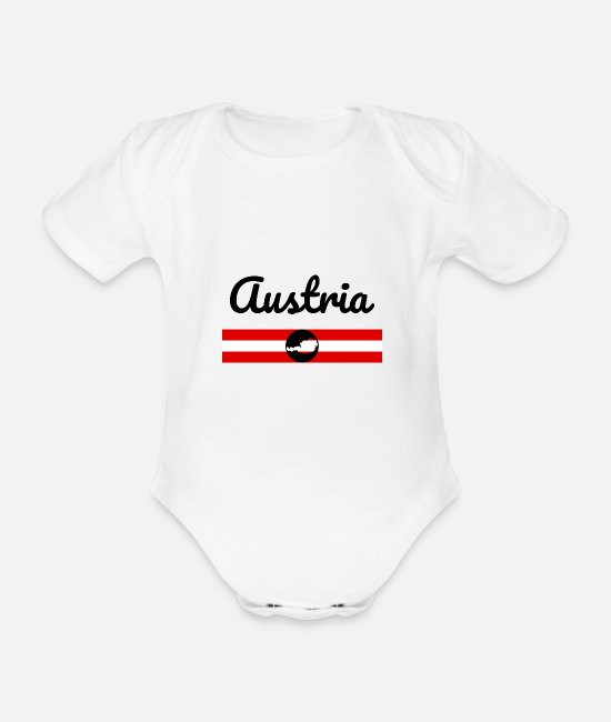 Travel Baby Clothes - Austria Flag Austria Vienna Graz Alps AT EU - Organic Short-Sleeved Baby Bodysuit white