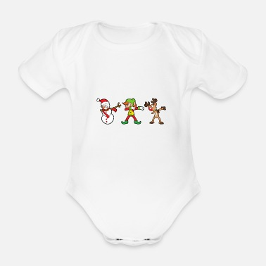 Santa Christmas - Organic Short-sleeved Baby Bodysuit