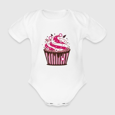 A cupcake with frosting - Organic Short-sleeved Baby Bodysuit