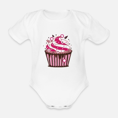 Frost A cupcake with frosting - Organic Short-Sleeved Baby Bodysuit