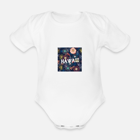Birthday Baby Clothes - Hawaii design - Organic Short-Sleeved Baby Bodysuit white