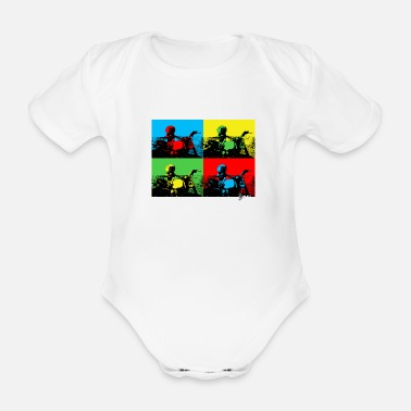 Motorcycle Angeland Pop Art 1 - Angeland Thrills - Organic Short-Sleeved Baby Bodysuit