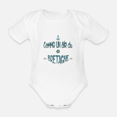 Pennant air of Brittany - Organic Short-Sleeved Baby Bodysuit