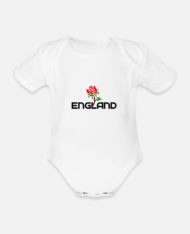 Proud Baby Bodys - England - Rose - Great Britain - british - Queen - Baby Bio Kurzarmbody Weiß