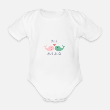 Lovely Cute whales love in love saying love gift couple - Organic Short-sleeved Baby Bodysuit