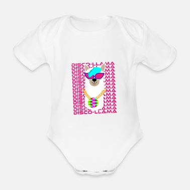 Party Disco Llama Party 80s 90s Fete Dancing Dance Animal - Organic Short-Sleeved Baby Bodysuit