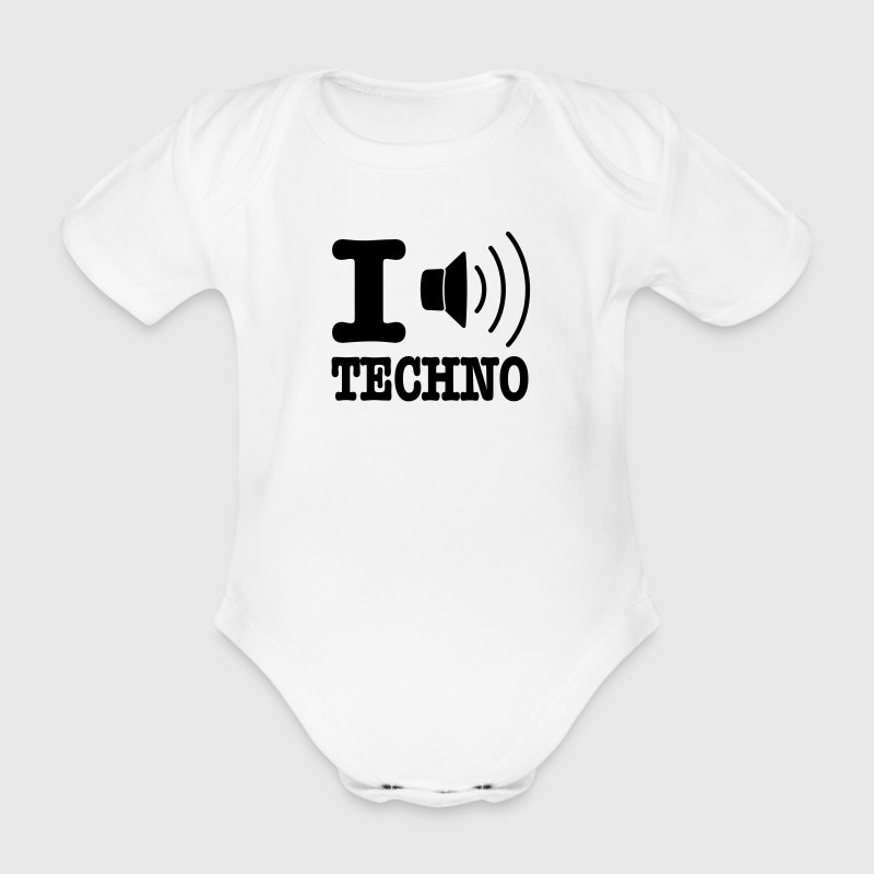 I love techno / I speaker techno - Baby bio-rompertje met korte mouwen