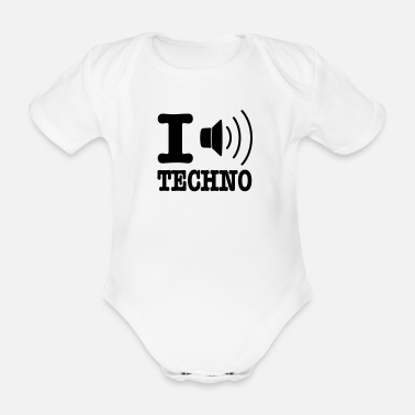 I Love Techno I love techno / I speaker techno - Baby bio-rompertje met korte mouwen