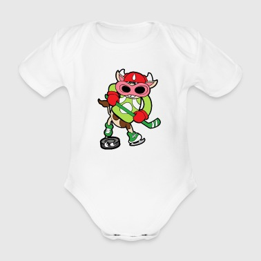 Funny Cute Funny Cool Cow Calf Bull Beef - Organic Short-sleeved Baby Bodysuit