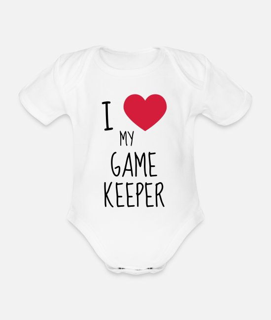 Gun Baby Clothes - Game Keeper Hunting Wildhüter Garde Chasse - Organic Short-Sleeved Baby Bodysuit white