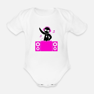 Dj A DJ plays cool music - Organic Short-sleeved Baby Bodysuit
