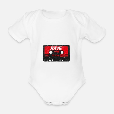 Synthesizer Rave Vintage Cassette - Techno Acid Synth Nerd 80s - Organic Short-sleeved Baby Bodysuit