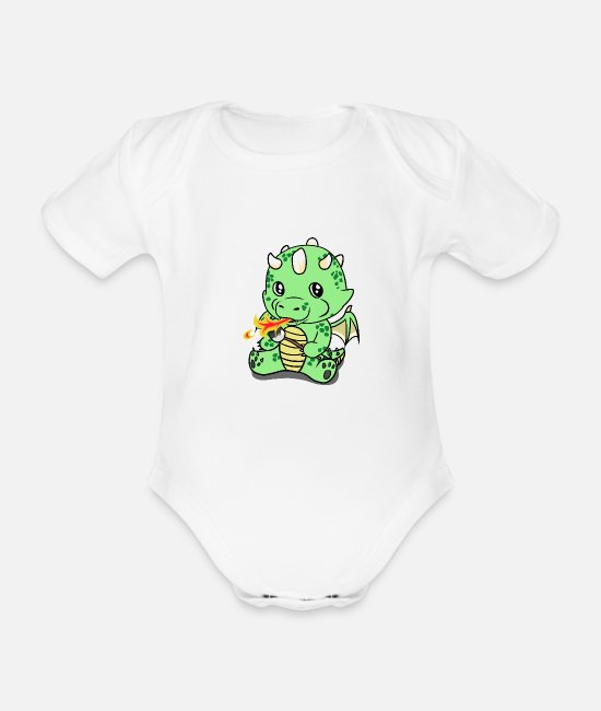 BBQ Baby Bodysuits - Dragon fable fairy tale fantasy kids animals cute - Organic Short-Sleeved Baby Bodysuit white