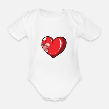 Injured Injured heart - Organic Short-Sleeved Baby Bodysuit