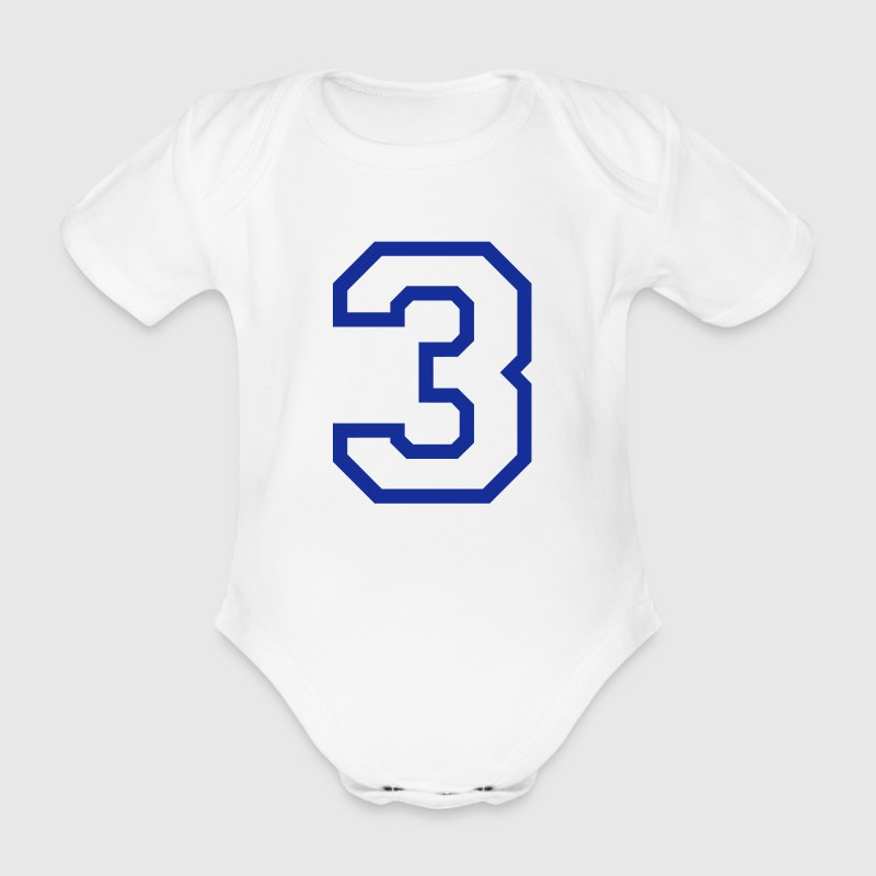 THE NUMBER 3-3 - Organic Short-sleeved Baby Bodysuit