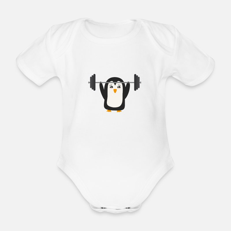 Bestsellers Q4 2018 Baby Clothing - Penguin weight lifting - Short-Sleeved Baby Bodysuit white