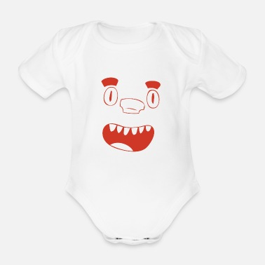 Nose Laughing puzzle nose face in red gift - Organic Short-sleeved Baby Bodysuit