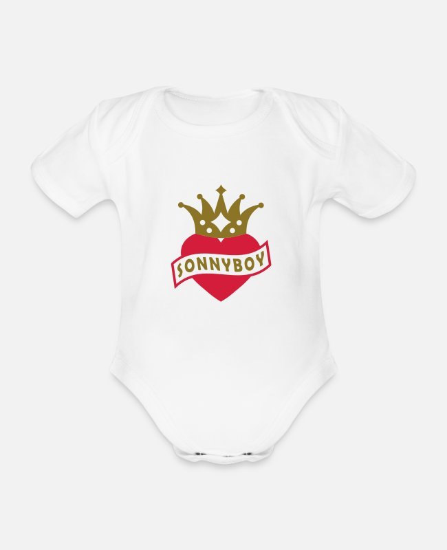 Heart Baby Bodysuits - With Heart & Crown - sonnyboy - Organic Short-Sleeved Baby Bodysuit white