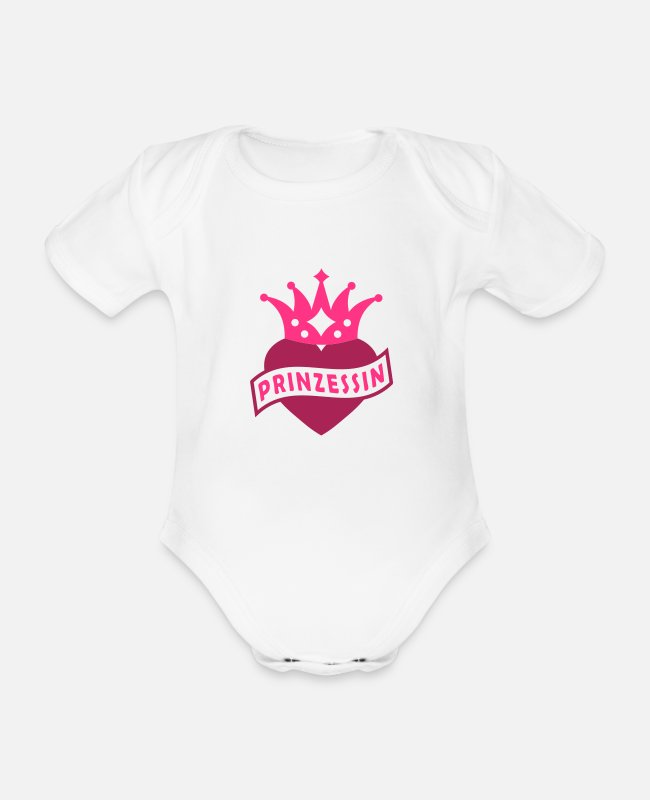 Heart Baby Bodysuits - With Heart & Crown - PRINCESS - Organic Short-Sleeved Baby Bodysuit white