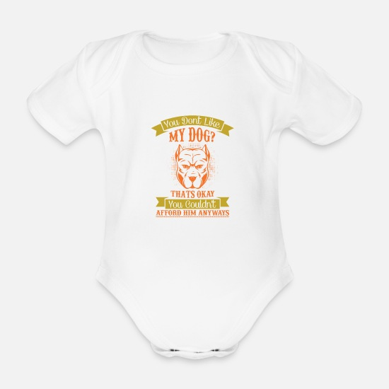Bobcat Baby Clothes - My dog? That's okey - Organic Short-Sleeved Baby Bodysuit white