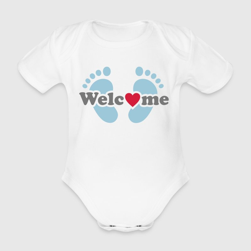 Welcome Me!   Baby feet pregnancy  - baby bump - Organic Short-sleeved Baby Bodysuit