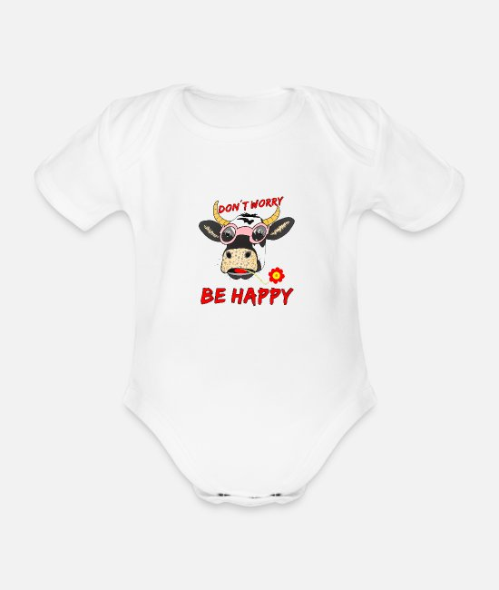 Dairy Cow Baby Bodysuits - COW HEAD DON T WORRY BE HAPPY - Organic Short-Sleeved Baby Bodysuit white