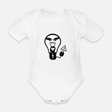 Light bulb black - Organic Short-Sleeved Baby Bodysuit