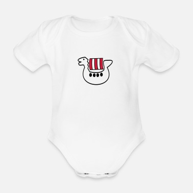 Child kids viking ship - Organic Short-Sleeved Baby Bodysuit