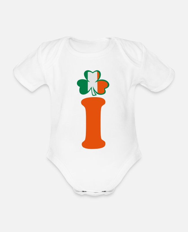 Kiss My Irish Ass I Am 100% Irish Saint Patty Day Lucky Shamrock Design For St Patricks Day Clothes Baby Bodysuits - ♥ټ☘I am Irish-Irish Power-Ireland Rules☘ټ♥ - Organic Short-Sleeved Baby Bodysuit white