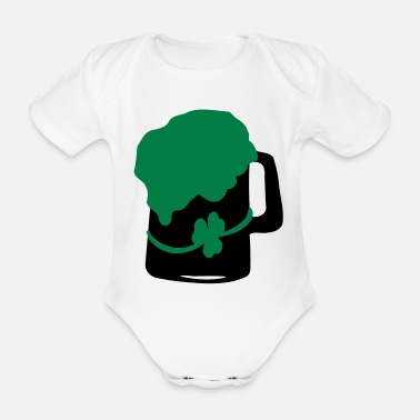 Green Beer shamrock green beer - Organic Short-Sleeved Baby Bodysuit