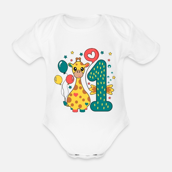 Birthday Baby Clothes - first birthday 1st birthday one year gift - Organic Short-Sleeved Baby Bodysuit white