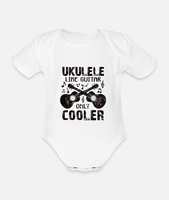 New Ukulele Player Baby Bodysuits - ukulele - Organic Short-Sleeved Baby Bodysuit white