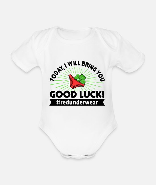 Lucky Guy Baby Bodysuits - New Year New Year's Eve Red underwear lucky charm - Organic Short-Sleeved Baby Bodysuit white